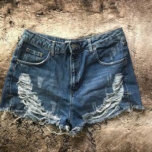Topshop Distressed High Waist Mom Shorts